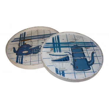 """Wooden Round Serving Trays, set of 2, French Vintage Design """"Cafe a Paris"""""""