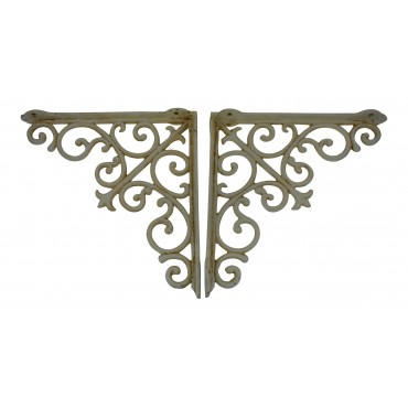 "15"" Cast iron shelf brackets, ivory, set of 2, French Antique design ""Arabesque"""