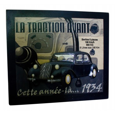 "Wooden 3D Wall Art Decor, French vintage design ""Citroen Traction avant ...1934"""