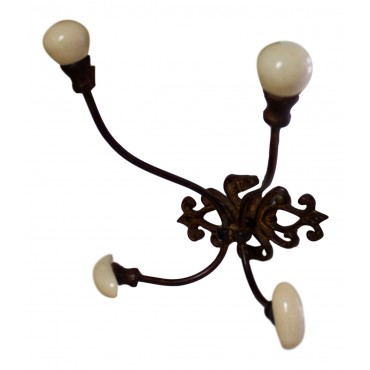 "Metal coat and hat hooks, wall mounted, French vintage design ""Fleur de Lys"""
