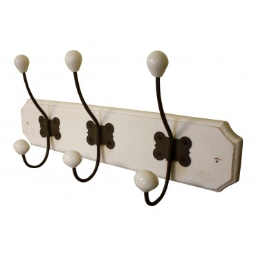 Coat and hat hooks, white wood, wall mounted, French vintage design