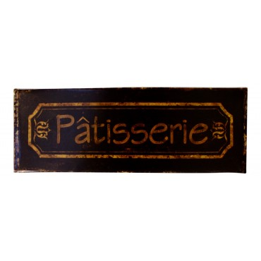 "Metal Sign, French Vintage Design ""Patisserie"", Dark Brown Color, 14"" X 5"""