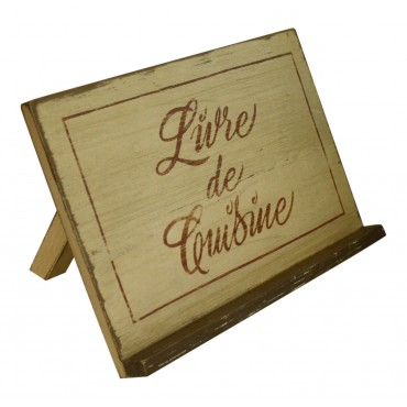 "Wooden cookbook holder, French vintage design ""Livre de Cuisine"""