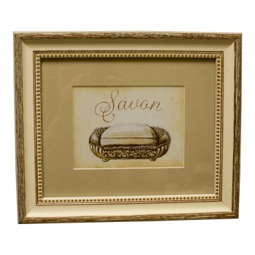 "Painting for wall with frame, French vintage design ""Savon"""