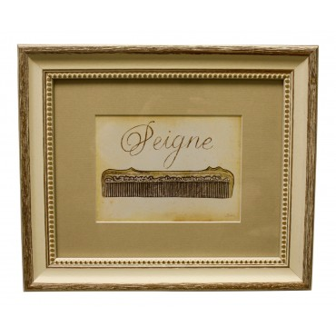 "Painting for wall with frame, French vintage design ""Peigne"""