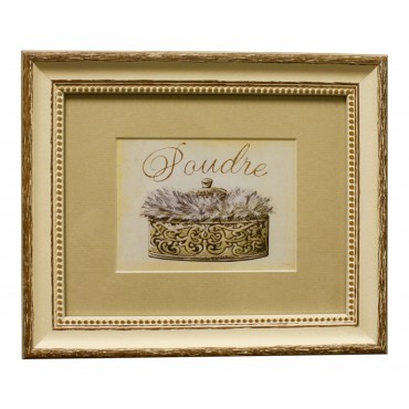 "Painting for wall with frame, French vintage design ""Poudre"""