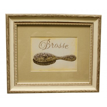 "Painting for wall with frame, French vintage design ""Brosse"""