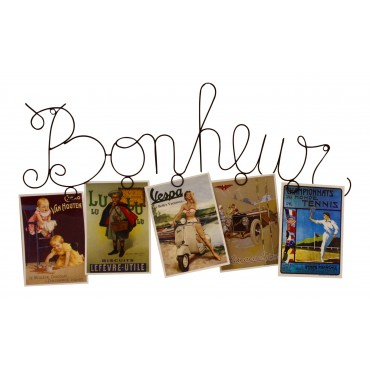 "Wall photo display, 5 photos, dark brown metal, French vintage design ""Bonheur"""