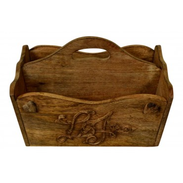 """Wood magazine holder  with handle, French vintage design """"Coeur"""""""