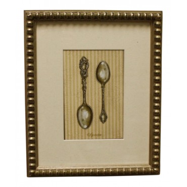 "Painting for wall with frame, French vintage design ""Cuillere en argent"""