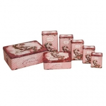 "French Set of 7 Tin Boxes ""Confiture de Cerises"""