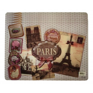 "Set of 6 rectangular plastic place mats, washable, French vintage design ""Paris l'elegante"""