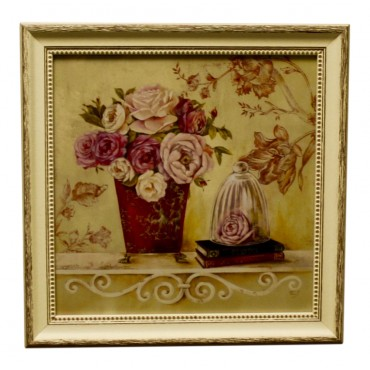 "Painting for wall with frame, French vintage design ""Roses de Paris"""
