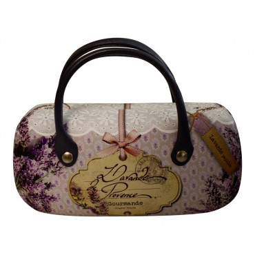 "Glasses/sunglasses Hard Case, Fashion Handbag Style, French Vintage design ""Lavande de Provence"""