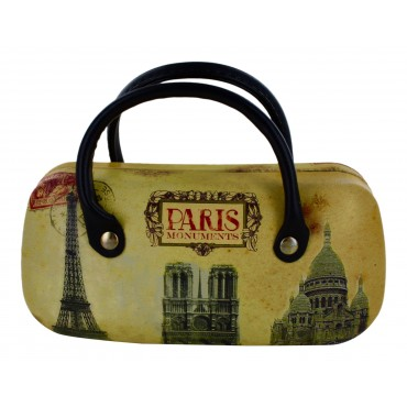 "Glasses/sunglasses Hard Case, Fashion Handbag Style, French Vintage design ""Paris Monuments"""