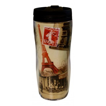 "Insulated Travel Mug, French vintage design ""Bistrot Parisien"""