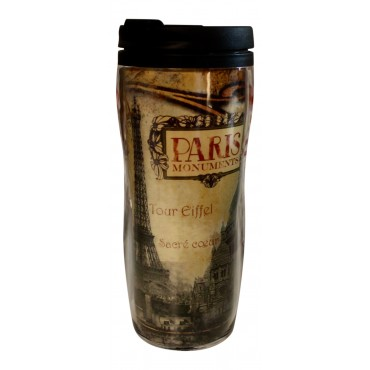 "Insulated Travel Mug, French vintage design ""Paris Monuments"""