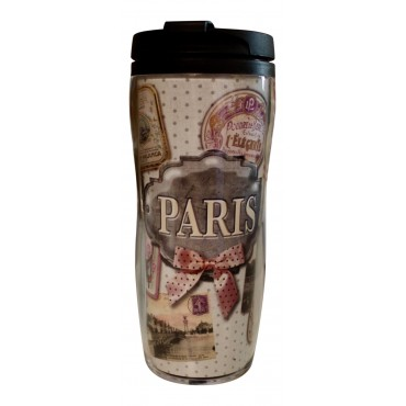 "Insulated Travel Mug, French vintage design ""Paris Poudre """