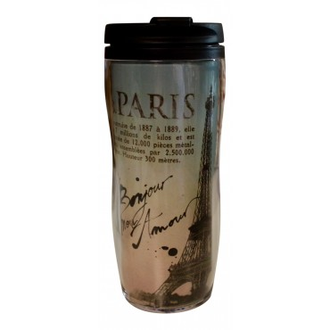 "Insulated Travel Mug, French vintage design ""Paris Bonjour """