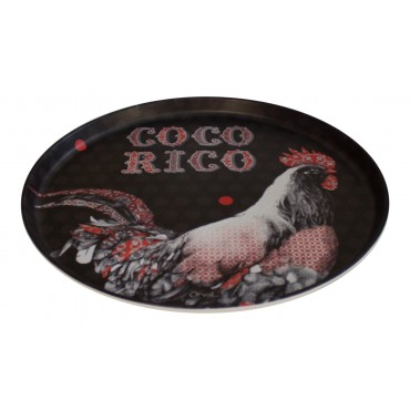 "Round Plastic tray, Bistro Style, French vintage design ""Cocorico"""