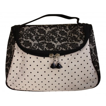 "Cosmetic bag, Black and white, French vintage design ""Arabesque"""