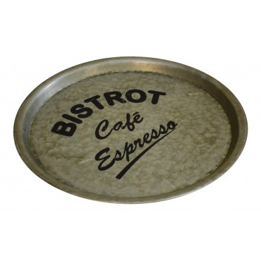 "Round Zinc tray, Bistro Style, French vintage design ""Bistrot cafe"""