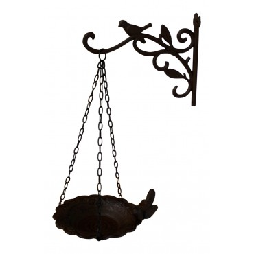 Dark brown cast iron Bird feeder, 4 birds, French Antique Style