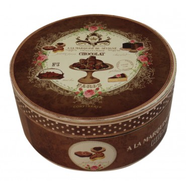 "Plastic Decorative Box - Set of 2 - Round - French Vintage Design ""Chocolat de Paris"""