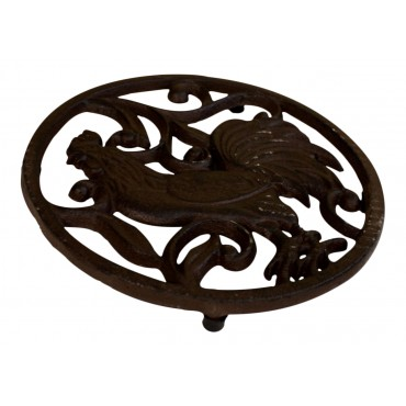 "Wrought iron round Trivet with feet, French Antique design ""Coq"""