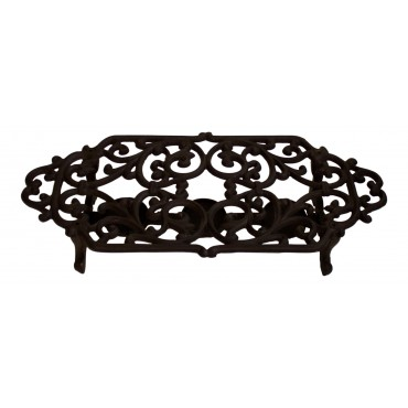 "Cast Iron Trivet with Tea Light Warmer, French Vintage Design ""Fleur De Lys"""