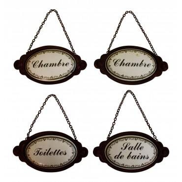 "Antique Style Wrought Iron Door Plaque, Set of 4, French Antique Design ""Chambre, Toilettes, Salle de bains"""