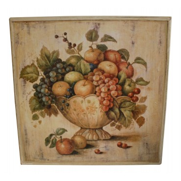 "Painting for wall with frame, French vintage design ""Coupe de Fruits"""
