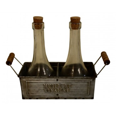 "Vinegar and oil set with a zinc tray, French vintage design ""Huile et Vinaigre"""