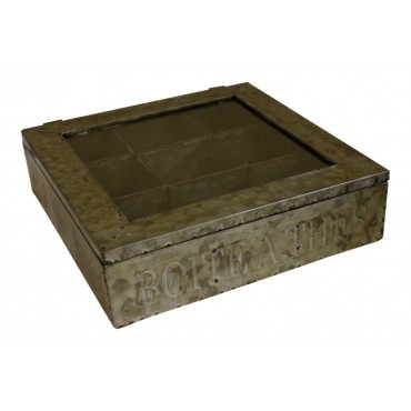 "Tea Box - Square - Zinc - French Vintage Design ""Boite a Thes"""