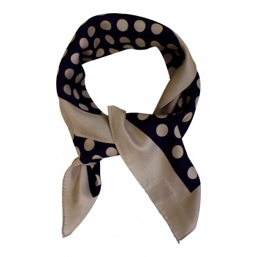 "French Silk Scarf - Polka Dot, navy blue, square , 25"" x 25"", 100% Silk Twill"
