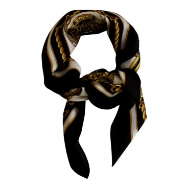 """French Silk Scarf, French Parisian design """"Nautical"""", square, Black and Gold, 35"""" x 35"""""""