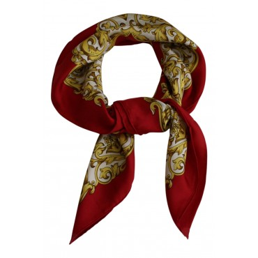 "French silk scarf, French parisian design ""Paris Leopard"", square, red, 35"" x 35"""