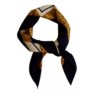 "French Silk Scarf La Parisienne - square 35"" x 35"" -  Navy Blue"