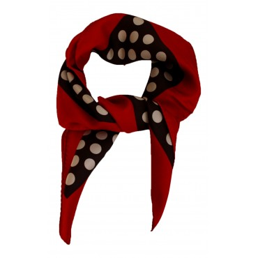 "French Silk Scarf - Polka Dot, black, square , 25"" x 25"", 100% Silk Twill"