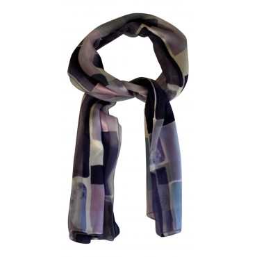 "French Silk long scarf, French design ""Paris Fashion"" - 55""x 15"" - 100% silk chiffon - blue"