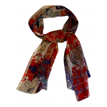 "French Silk long scarf, French design ""Printemps de Paris "" - 55"" x 15"" - 100% silk chiffon - multicolor"