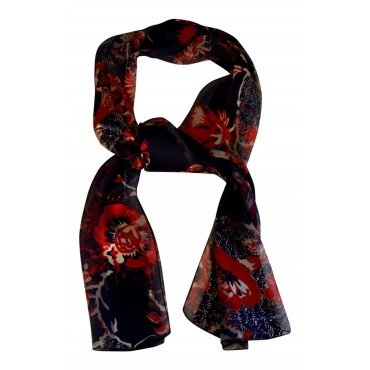 "French Silk long scarf, French design ""Couleurs de Paris "" - 55"" x 15"" - 100% silk chiffon - multicolor"