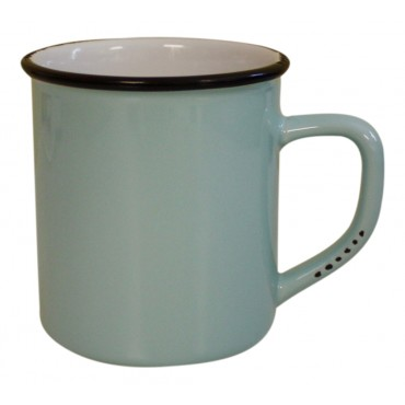 11 oz Coffee Mug, Light blue Ceramic, French vintage design