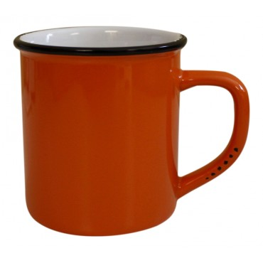11 oz Coffee Mug, Orange Ceramic, French vintage design