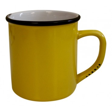 11 oz Coffee Mug, Yellow Ceramic, French vintage design