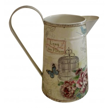 "Flower watering can/pitcher, French vintage design ""L'eau des Fleurs, Papillon"""