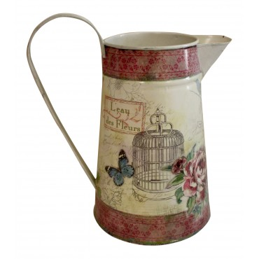 "Flower watering can/pitcher, French vintage design ""L'eau des Fleurs, Roses"""