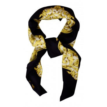 "French silk scarf, French parisian design ""Paris Leopard"", square, Black, 35"" x 35"""