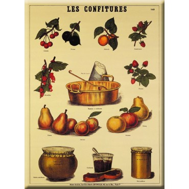 """French Metal sign 5.9"""" x 8.3"""" LES CONFITURES JAM"""