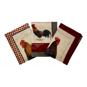 "Kitchen Dish Towels, Set of 3, Cotton, French Provence Design ""Roosters""- Made in France"